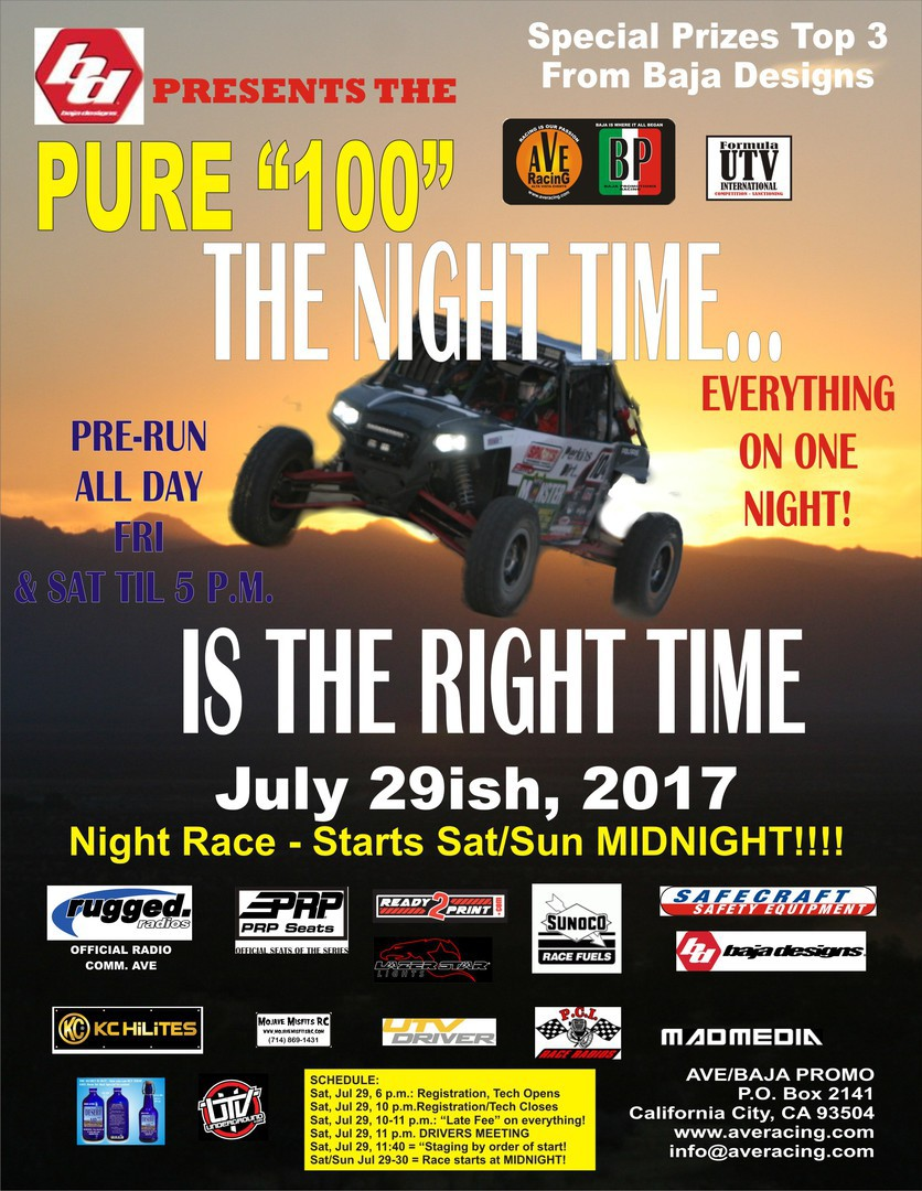 pure 100 the night time is the right time flyer